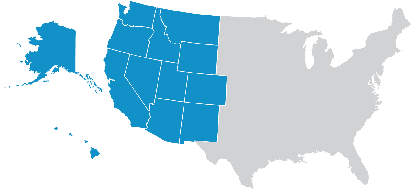 US map of WUSATA member states.