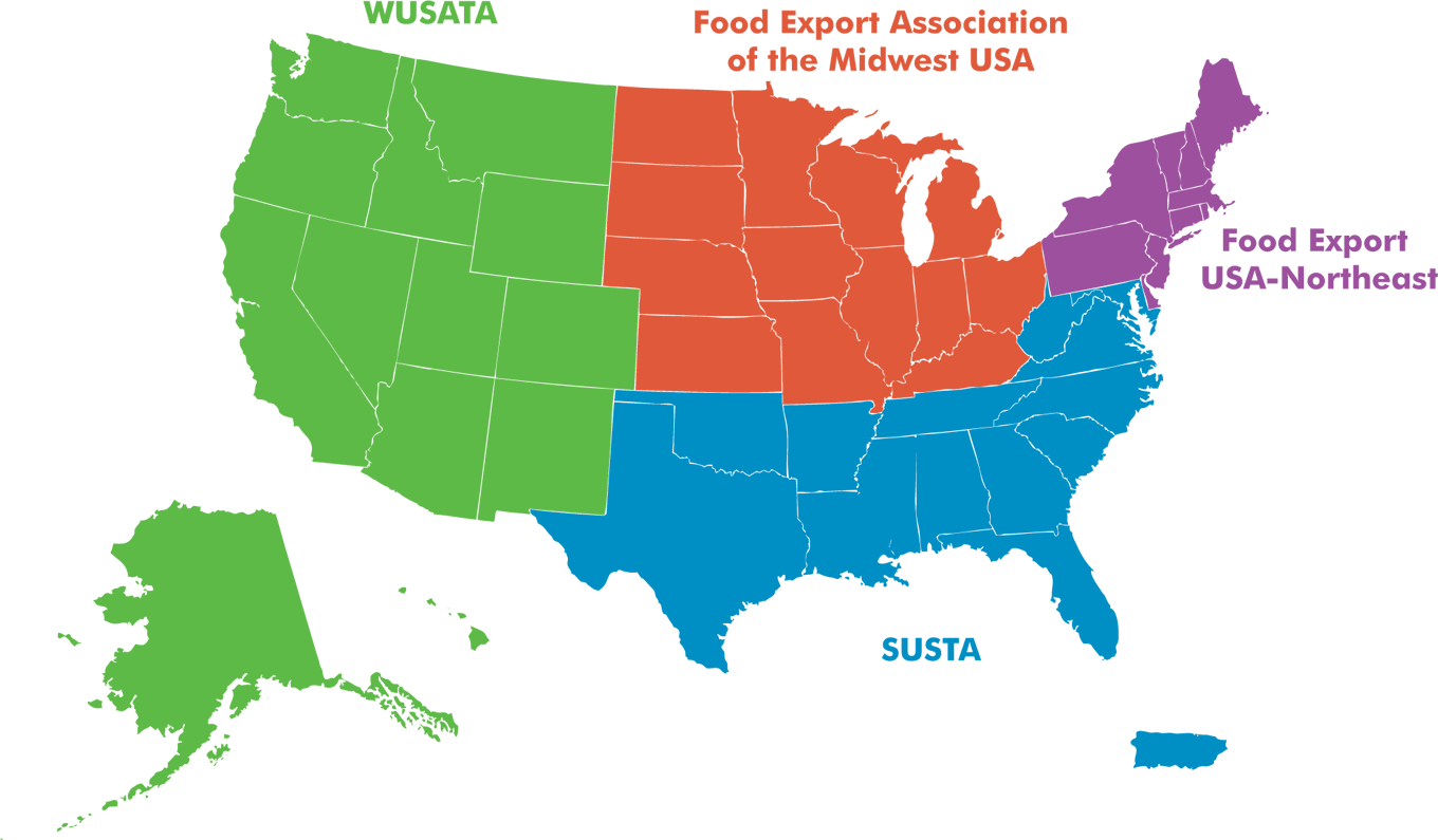 Map of WUSATA, SUSTA, Food Export USA-Northeast, and Food Export Association of the Midwest USA.